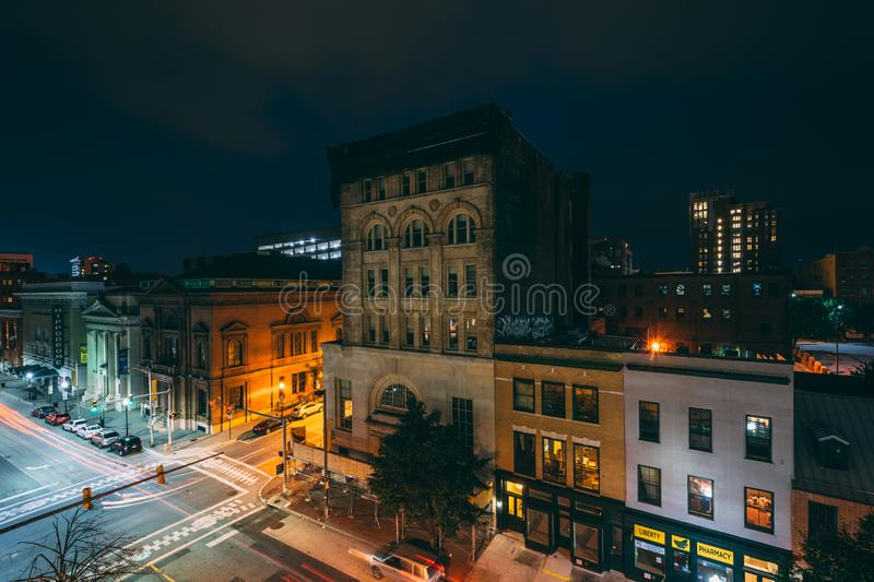 View of the intersection of Eutaw and Fayette Streets in downtown Baltimore, Maryland.  royalty free stock photo