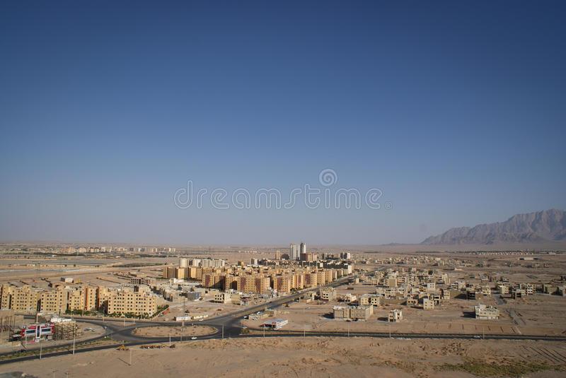 View of Iranian desert city of Yazd. Aerial view of Iranian city Yazd located on a Silk Road royalty free stock photos