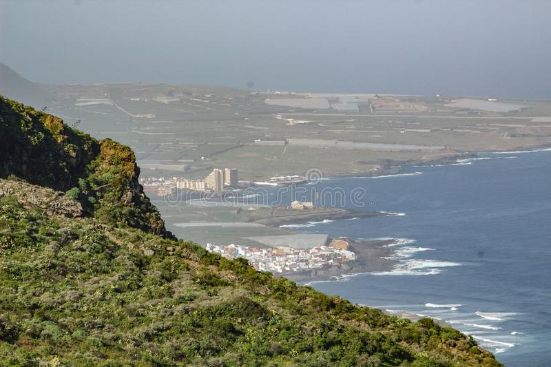 View of Isla Baja Low Island from surrounding mountains. North-west coast of Tenerife, Canarian Islands royalty free stock photos