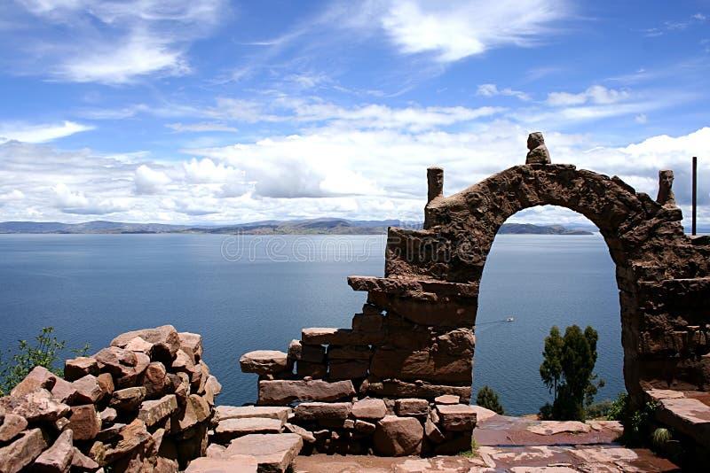 View from isla del sol Lake Titicaca stock photo