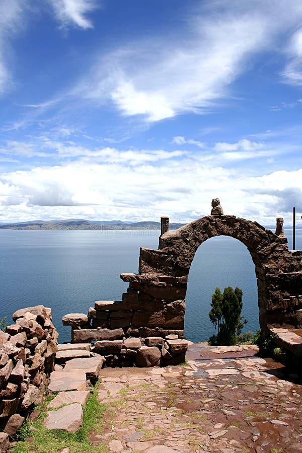 View from isla del sol Lake Titicaca stock image