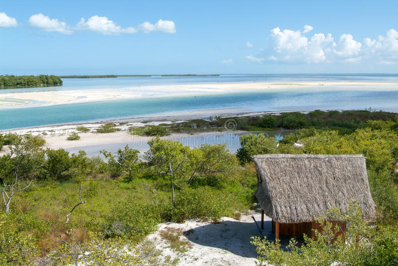 View on the island de los Pajaros in Holbox royalty free stock images