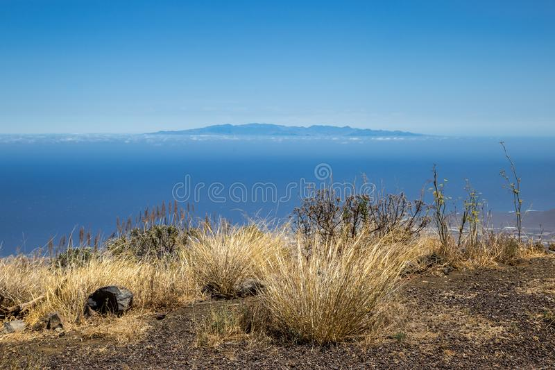View of the Island La Gomera in a distance from Tenerife, Canary Islands, Spain stock photography