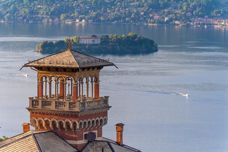 View of island madre on lake maggiore italy royalty free stock photography