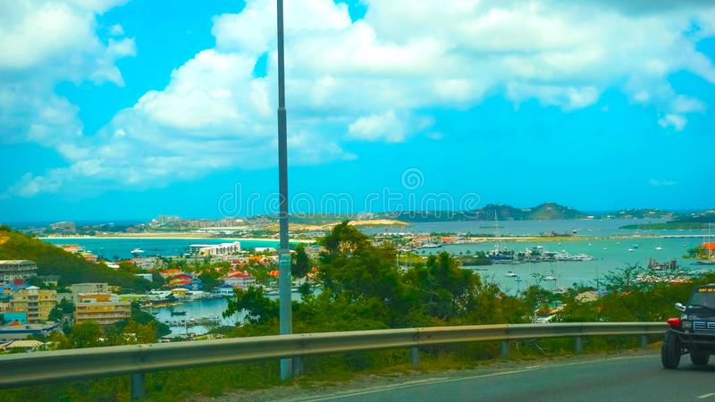 The view of the island of St. Maarten on a sunny day royalty free stock photos