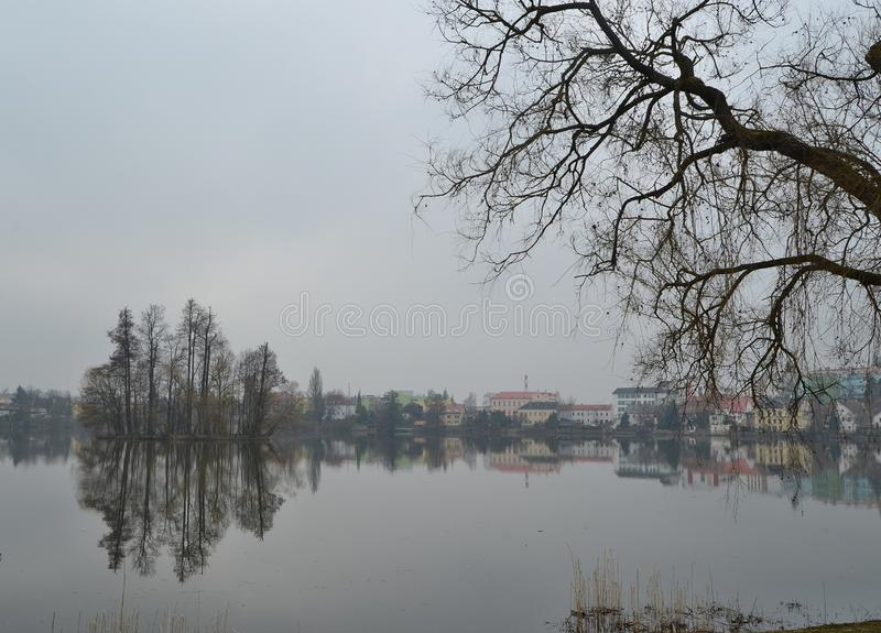 View of the island on the Vajgar pond, Jindrichuv Hradec city, southern Bohemia. Czech Republic royalty free stock image