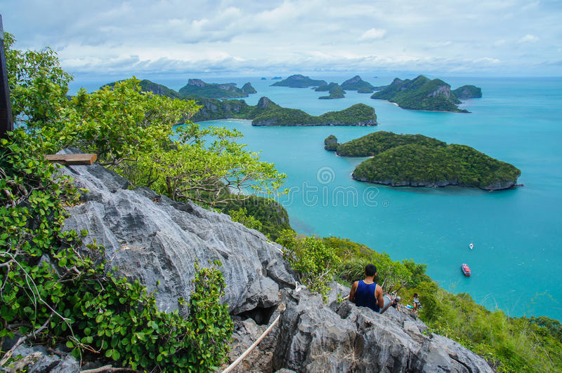 View of Islands and cloudy sky from viewpoint of Mu Ko Ang Thong National Marine Park near Ko Samui in Gulf of Thailand royalty free stock photography