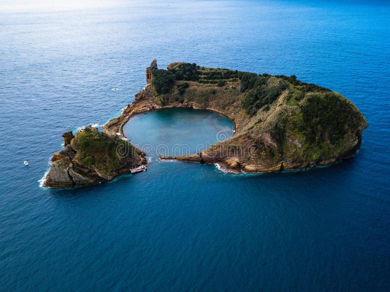 View of Islet of Vila Franca do Campo, is formed by the crater of an old underwater volcano, Azores. royalty free stock photo