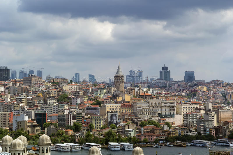 View of Istanbul Beyoglu area. With Galata Tower from Suleymaniye Mosque stock images