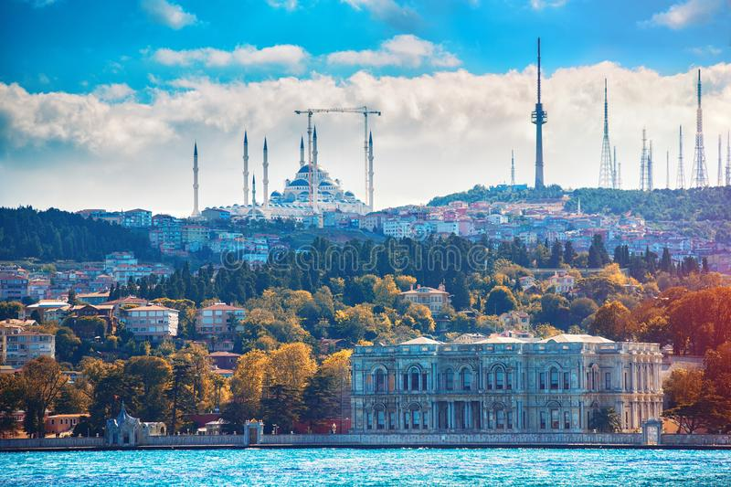 View of Istanbul Camlica Mosque and Beylerbeyi Palace in Asian side of Istanbul stock photography