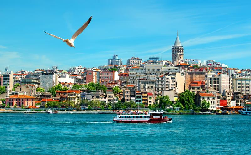 View on istanbul city. Golden Horn bay and Galata Tower royalty free stock photography