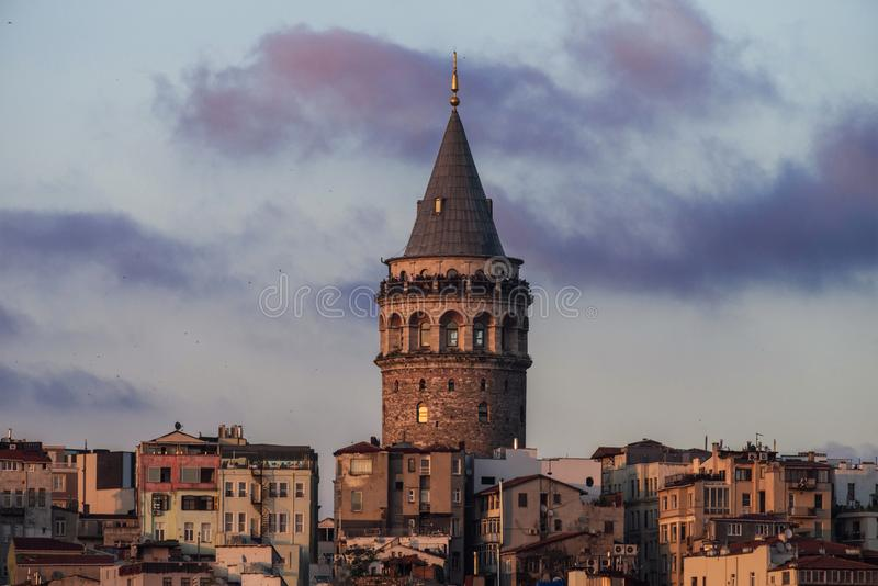 View of Istanbul with the Galata Tower in the middle. Evening photo.  stock images