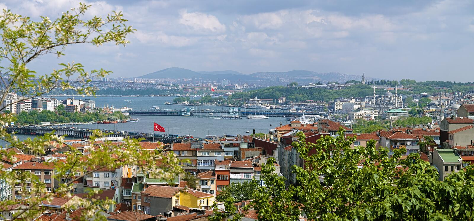 View of Istanbul and Golden Horn Estuary, Turkey. View of Istanbul and Golden Horn Estuary from the Yavuz Selim Mosque, Turkey stock photo