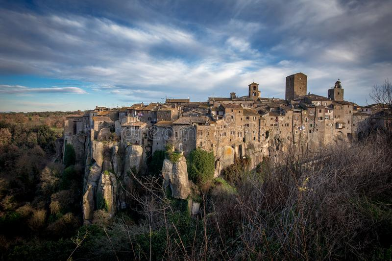 View of Italian village Vitorchiano. Houses and neighbors laid o royalty free stock photo
