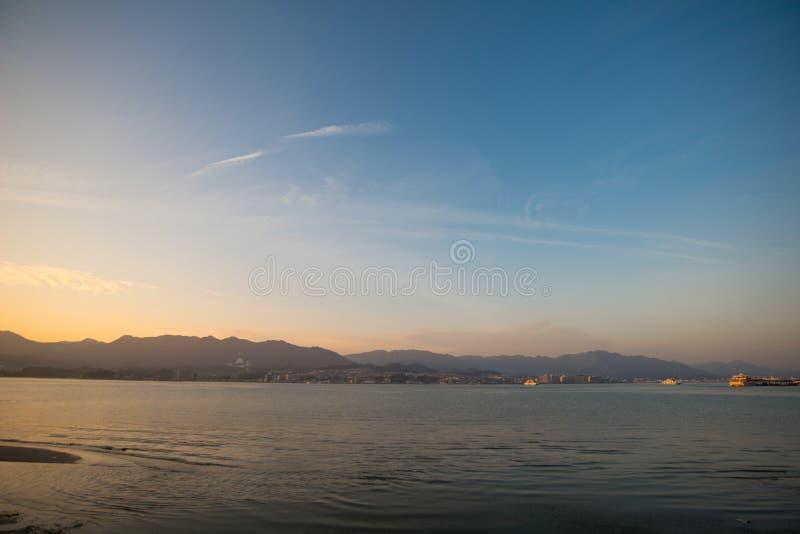 View from Itsukushima Shrine at Miyajima island. Hiroshima, Japan stock image
