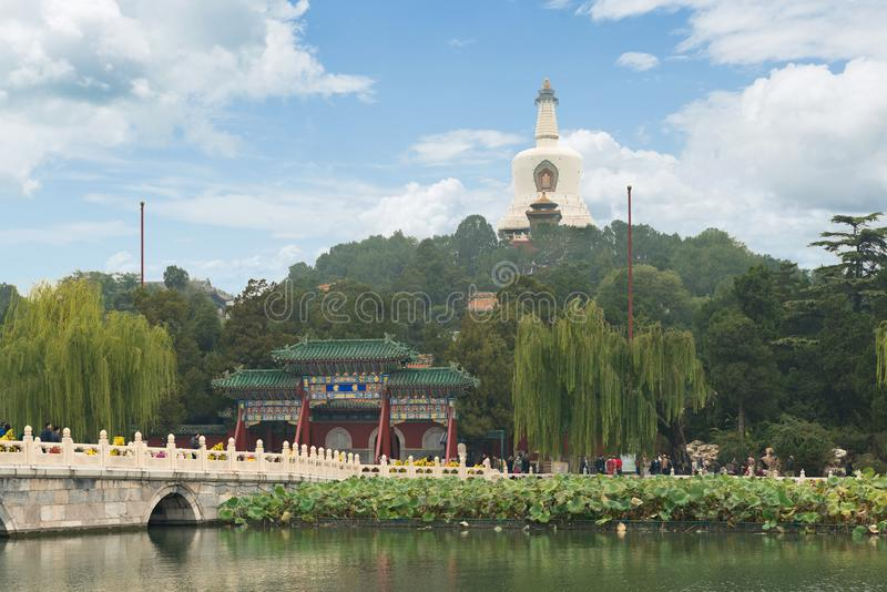 View of Jade Island with White Pagoda in Beihai Park at Beijing, China stock images
