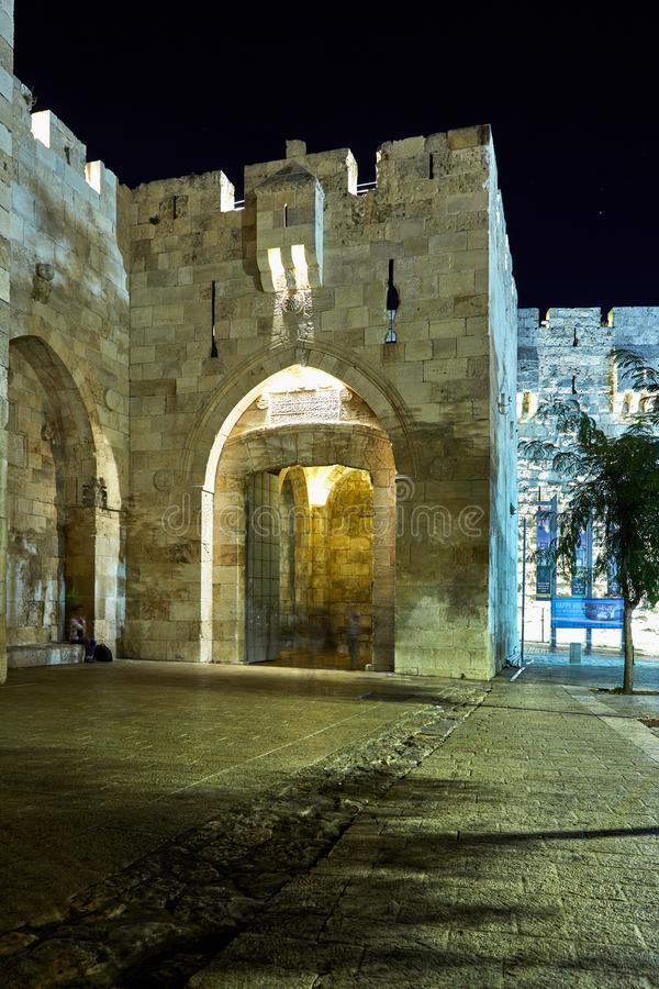View of the Jaffa Gate in Jerusalem. The old gate has the shape of a medieval gate tower with an L-shaped entryway, which was secured at both ends with heavy stock image