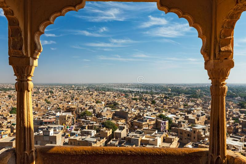 View of Jaisalmer city from Jaisalmer fort, Rajasthan, India royalty free stock image