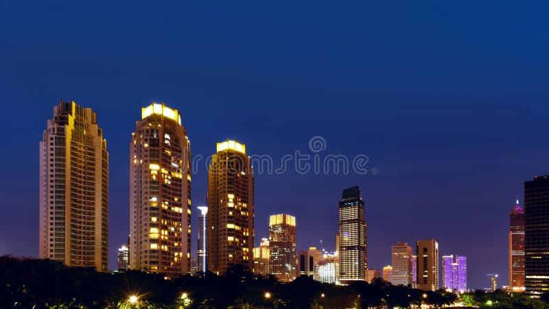 Jakarta city building at night stock photos