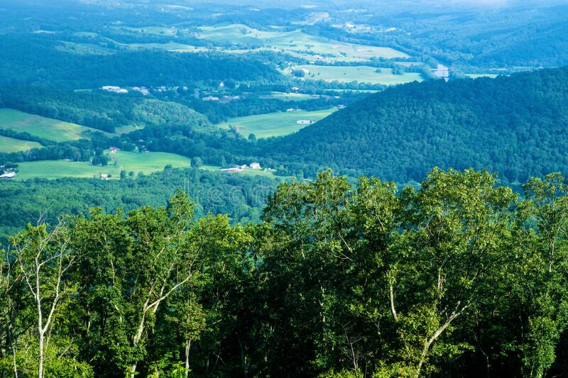 View of the James River in Shenandoah Valley from the Blue Ridge Mountains stock photo