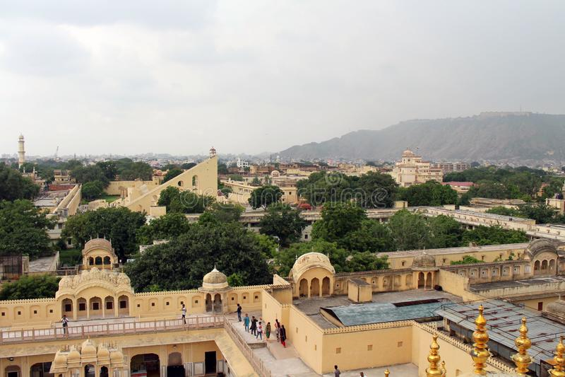 The view of Jantar Mantar, the ancient observatory, as seen from. Hawa Mahal in Jaipur. Taken in India, August 2018 stock images