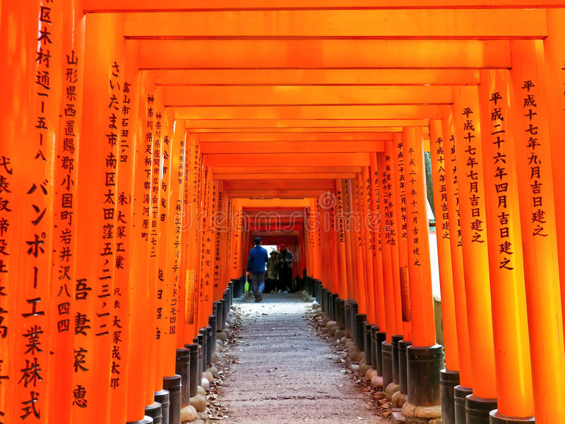 View of the Japanese torii path in Kyoto, Japan. stock photography
