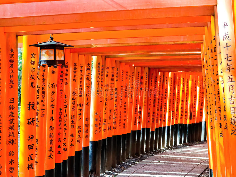 View of the Japanese torii path in Kyoto, Japan. royalty free stock photos