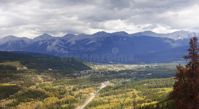 View from Jasper in Canada Alberta. View from Jasper in Rocky Mountains Alberta, Canada royalty free stock photography