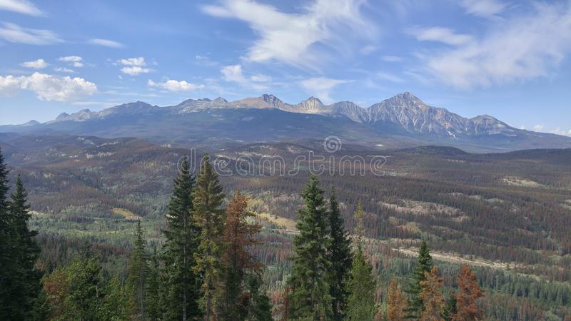 View of Jasper Mountains stock photography