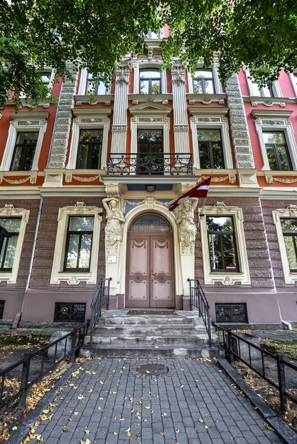 View on Jazeps Vitols Latvian Academy of Music at 1 Barona Street, Riga, Latvia royalty free stock photo