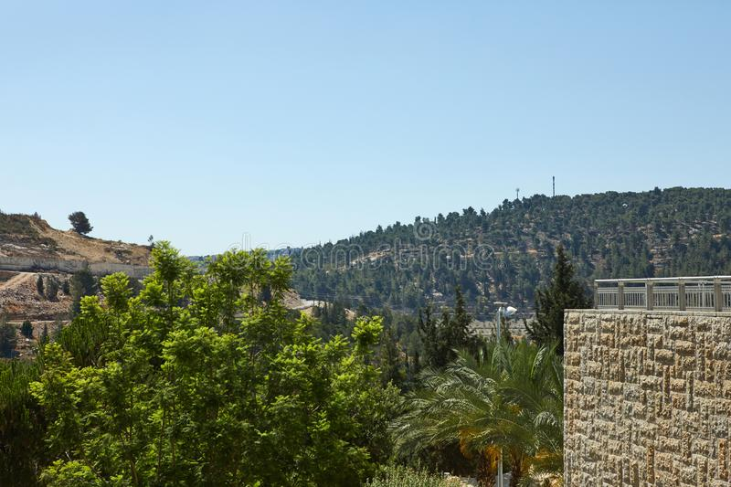 View of Jerusalem in the center of the Jerusalem grove. And Kiryat Yuvel, holy, cityscape, kotel, shrine, mosque, israel, skyline, ancient, jewish, place stock image
