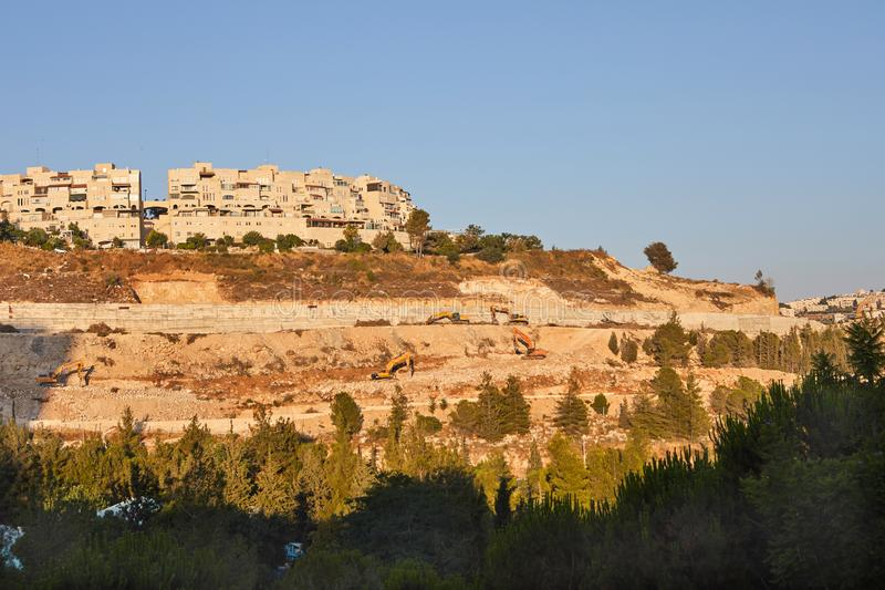 View of Jerusalem in the center of the Jerusalem grove. And Kiryat Yuvel, holy, cityscape, kotel, shrine, mosque, israel, skyline, ancient, jewish, place stock images