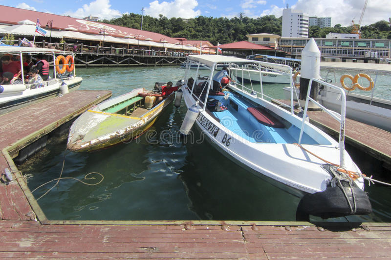 View of Jesselton Point, Kota Kinabalu , Sabah, Malaysia. Jesselton Point is the water transportation hub to small island in Sabah and Labuan royalty free stock images