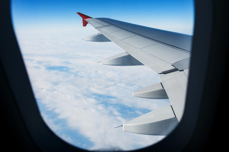 View of jet plane wing royalty free stock image