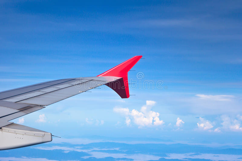 View of jet plane wing stock photos