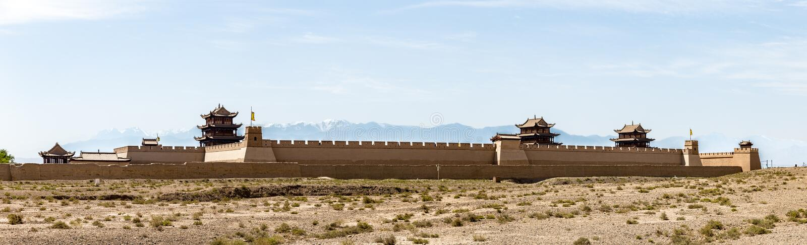 View of Jiayuguan Fort with snow capped mountains on the backgrond, Gansu, China stock photo