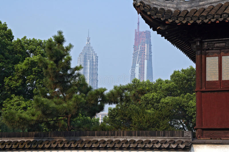 A view of Jin Mao tower and Shanghai World Financial Center (in. Shanghai, China - July 24, 2007: A view of Jin Mao tower and Shanghai World Financial Center (in stock images