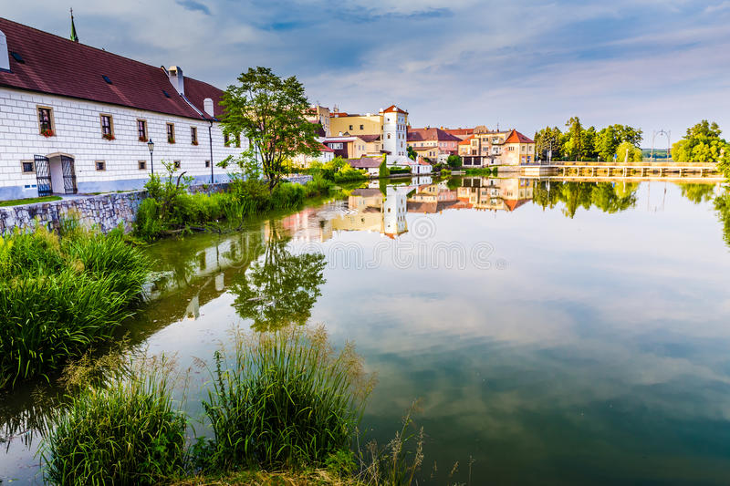 View of Jindrichuv Hradec Castle-Czech Republic. Beautiful View of Jindrichuv Hradec Castle and Colorful Houses with Reflection on The Water-South Bohemia, Czech royalty free stock images