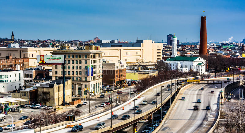 View of the Jones Falls Expressway in Baltimore, Maryland. stock image