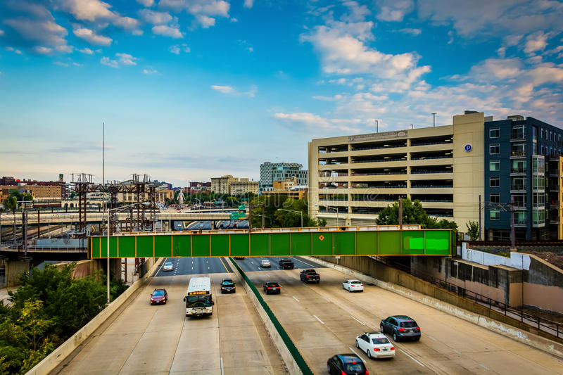 View of the Jones Falls Expressway in Baltimore, Maryland. stock photo