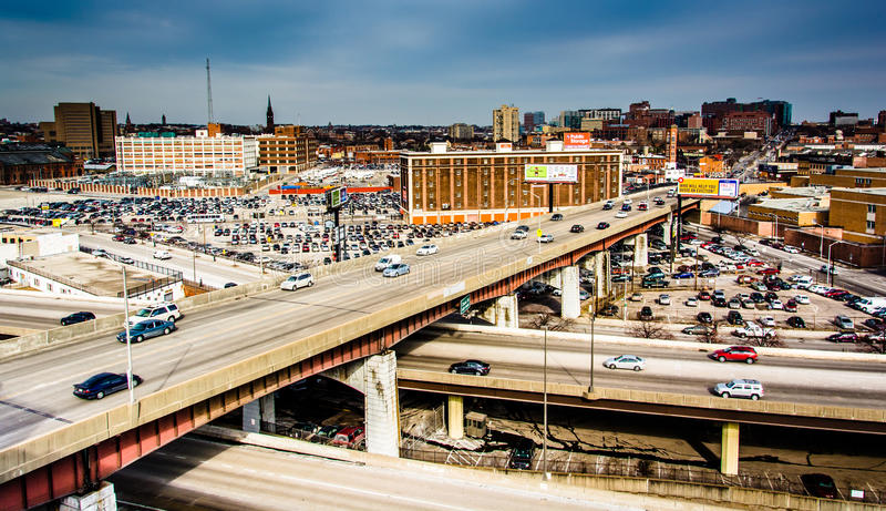 View of the Jones Falls Expressway and Orleans Street in Baltimore, Maryland. royalty free stock image