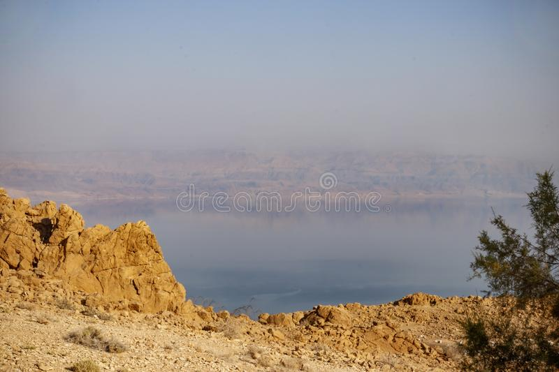 View of the Jordanian mountains and the Dead Sea at sunset royalty free stock photography
