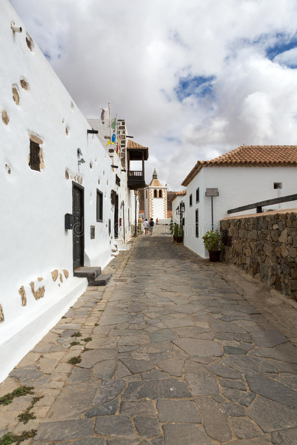 A view of Juan Bethencourt street in Betancuria on Fuerteventura stock photography
