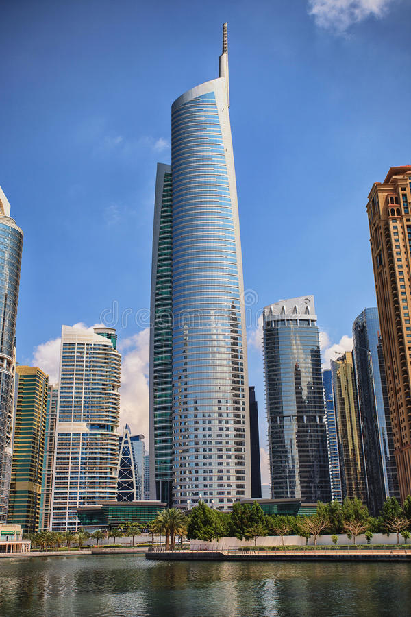View of Jumeirah Lakes Towers skyscrapers. stock images
