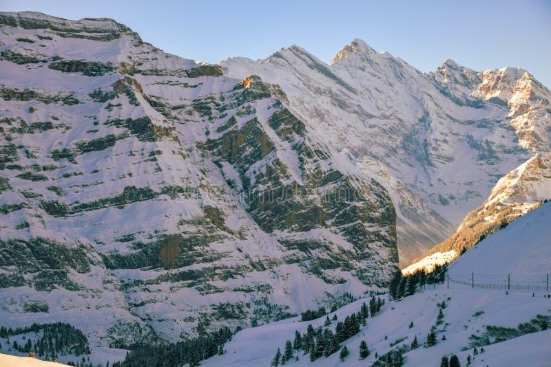 View of the Jungfraujoch mountain peak in winter. Swiss Alps. View of the Jungfraujoch mountain peak in winter, Swiss Alps royalty free stock photo