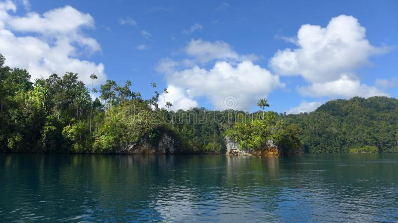 Mayalibit bay in Waigeo. Raja Ampat. View of the Jungle on the Mayalibit bay in Waigeo. Raja Ampat, West Papua, Indonesia stock photo