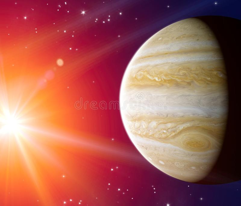 View of Jupiter. It is the largest planet in our solar system vector illustration