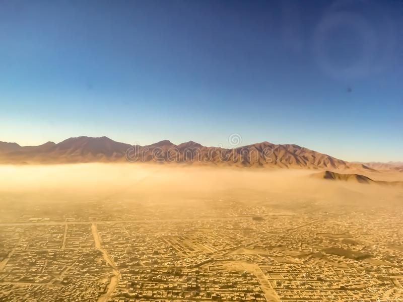 View of Kabul, Afghanistan,  over the dust cloud royalty free stock images