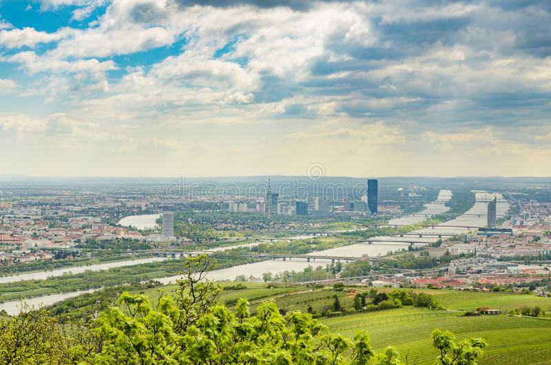 View from Kahlenberg hill on vienna cityscape. stock image