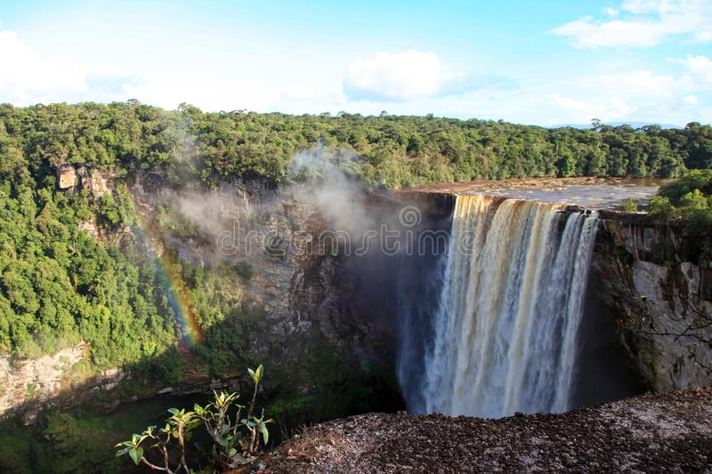 A view of the Kaieteur falls, Guyana. The waterfall is one of the most beautiful and majestic waterfalls in the world,. The water of the Potaro river falls from royalty free stock images